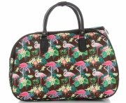 Průměrná cestovní taška kufřík Or&Mi Plameňáci Multicolor - Hnědá