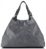 Univerzální kožená italská kabelka Genuine Leather Šedá