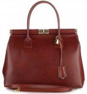 Kožené kabelky kufříky XL Genuine Leather hnědá