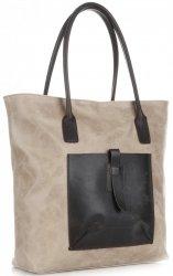 Univerzální kožená italská kabelka XXL Genuine Leather na každý den Béžová