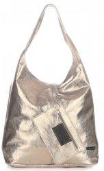 Kožená kabelka Shopper Bags kosmetickou kapsičkou zlatá