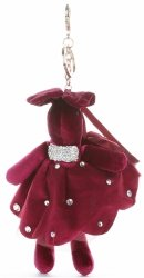 Přívěšek ke kabelce Sametový králík v sukýnce burgundy