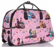 Cestovní taška na kolečkách s výsuvnou teleskopickou rukojetí Or&Mi English Girl Multicolor - růžová