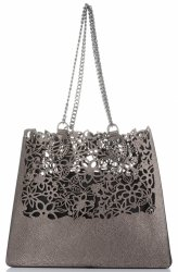 Elegantní kožená italská kabelka Vittoria Gotti Made in Italy Shopperbag XL s kosmetickou Staré zlato