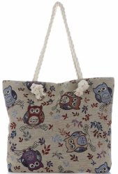 Plážová dámská kabelka Owl Vícebarevný - béžová