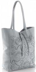 Kožené kabelky Vittoria Gotti Shopper bag světle šedá