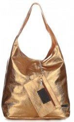 Kožená kabelka Shopper Bags kosmetickou kapsičkou staré zlato