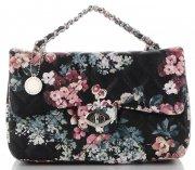 Prošívaná Kabelka Listonoška květinový vzor Diana&Co Multikolor Černá