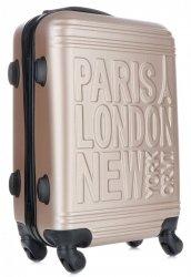 Módní Palubní kufřík Or&Mi Paris/London/NewYork 4 kolečka Zlaté