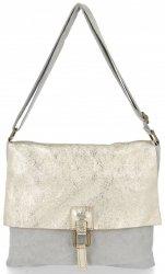 Módní kožená kabelka listonošky Světle šedá Gold