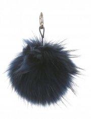 Přívěšek ke kabelce Pompon z přírodního vlasu mýval tmavě modrý