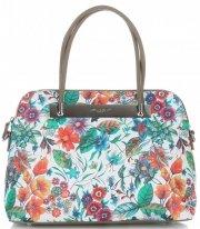 Dámská kabelka kufřík David Jones květovaná Zemitá