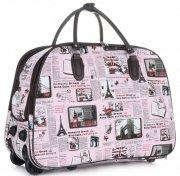 Cestovní taška na kolečkách s výsuvnou teleskopickou rukojetí Or&Mi Newspaper Paris&London Multicolor - růžová