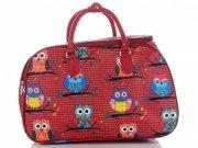 Malá cestovní taška kufřík Or&Mi vzor v sovy Multicolor - Červená