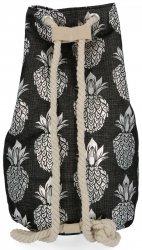 Módní Dámské Batohy vzor v ananasu Černý a stříbrný