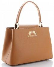 Vittoria Gotti Made in Italy Elegantní Dámská kabelka kožená kufřík Zrzavá