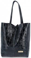 Vittoria Gotti Kožená Italská Kabelka Shopperbag motiv želvy XL Tmavě Modrá