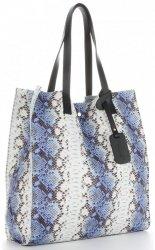 Vittoria Gotti Exkluzivní Kožené Kabelky Shopperbag XL hadí vzor Modrá