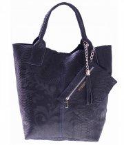 Włoskie Torebki skórzane typu Shopper bag Granat