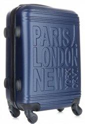 Modna Walizka Kabinówka Or&Mi Paris/London/NewYork 4 kółka Granat