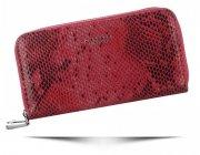 Ekskluzywny Portfel Damski Diana&Co Firenze typu piórnik z motywem węża 2 komory Czerwony