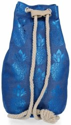 Modny Plecak Damski Pojemny Worek XL w modny wzór Ananasów Niebieski