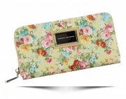 Modny Portfel Damski XL wzór w kwiaty Diana&Co Multikolor Żółty