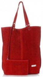 Uniwersalna Torba Skórzana Firmowy Shopper Vittoria Gotti w rozmiarze XXL Zamsz Naturalny wysokiej jakości Czerwona