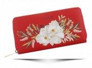 Modny Portfel Damski XL we wzór kwiatów David Jones Multikolor Czerwony