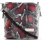 Vittoria Gotti Firmowa Listonoszka Skórzana Made in Italy w modny wzór Węża Bordowa