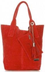 Vittoria Gotti Torebki Skórzane Typu ShopperBag XL Zamsz Naturalny Wysokiej Jakości Czerwona