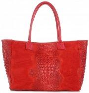 Duża Torba Skórzana z motywem Aligatora firmy Genuine Leather Czerwona