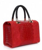 Elegancki kufer skórzany Aligator Czerwony