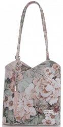 Uniwersalna Torebka Skórzana z funkcja plecaczka firmy Vittoria Gotti Made in Italy we wzory Kwiatów Różowa
