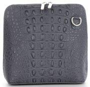 Włoska Torebka Skórzana Listonoszka firmy Genuine Leather we wzór Krokodyla Szara