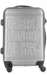 Modna Walizka Kabinówka Or&Mi Paris/London/NewYork 4 kółka Srebrna