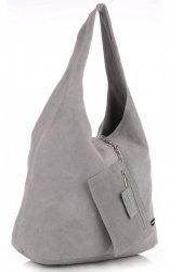 Oryginalne Torby Skórzane XL VITTORIA GOTTI Shopper Bag z Etui Jasno Szara