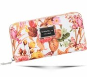Modny Portfel Damski Diana&Co Firenze wzór Kwiatów Pomarańczowy