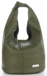 Vittoria Gotti Made in Italy Modny Shopper XL z Kosmetyczką Uniwersalna Torba Skórzana na co dzień Jasno Zielona