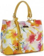 Vittoria Gotti Modna Torebka Skórzana Elegancki Kuferek Made in Italy we wzór malowanych kwiatów Multikolor Żółta