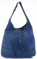 Oryginalne Torby Skórzane XL VITTORIA GOTTI Shopper Bag z Etui Niebieska