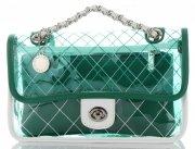 Transparentne Torebki Damskie Modne Listonoszki z kosmetyczką marki Diana&Co Zielona