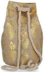 Modny Plecak Damski Pojemny Worek XL w modny wzór Ananasów Złoty