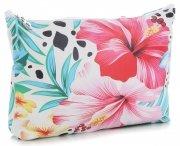 Modne Kosmetyczki w rozmiarze L marki David Jones wzór w kwiaty Multikolor Różowa
