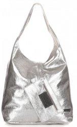 Modny Shopper XL z Lakierowanej Skóry Naturalnej Srebrny