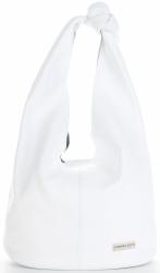 Vittoria Gotti Made in Italy Modny Shopper XL z Kosmetyczką Uniwersalna Torba Skórzana na co dzień Biała