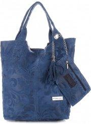 VITTORIA GOTTI Made in Italy Torebka Skórzana Shopperbag w Tłoczone Wzory Niebieska