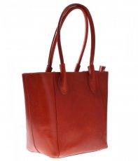 Kožená kabelka Genuine Leather dlouhé madla zrzavá