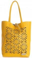 Modne Torebki Skórzane z Wycinanym Wzorem firmy Vittoria Gotti Żółta