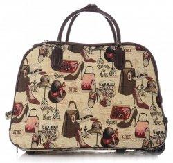 Cestovní taška na kolečkách s výsuvnou teleskopickou rukojetí Or&Mi Fashion Multicolor - béžová
